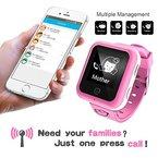 Kinder GPS-Tracker Babyphone Baby Mini Telefon Handy Monitor Kinder mit Sicherheit für Mädchen Jungen von 4 bis 12 Jahre alt (2G SIM-Karte ist nicht enthalten) (Rosa)