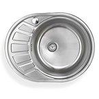 Stabilo-Sanitaer Einbauspüle aus hochwertigem Edelstahl, rundes Spülbecken mit kleiner Abtropffläche links, Waschbecken in schönen und zeitlos modernen Design