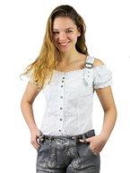 Tolle Damen Trachten Bluse mit Träger in 7 Farben Gr. XS-XXL Deutscher Hersteller (L, weiß)