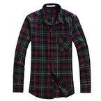 OCHENTA Hemden Herren Langarm Plaid Flanellhemd N002 Weihnachten gruen EU L (Asien 2XL)