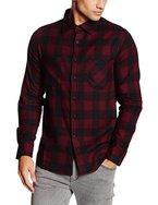 Urban Classics Herren Regular Fit Freizeit Hemd Checked Flanell Shirt, Gr. Kragenweite: 41 cm (Herstellergröße: M), Mehrfarbig (blk/burgundy 651)
