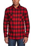 Urban Classics Herren Langarmshirt Bekleidung Checked Flanell Shirt, mehrfarbig (Blk/Red), Large