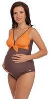 Be Mammy Umstandsbadeanzug MARISSA (Braun/Orange, 40)