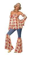 Smiffys, Damen 70er Jahre Vintage Hippie Kostüm, Neckholder-Top, Ärmel, Schlaghose und Stirnband, Größe: L, 39434