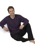 Herren Pyjama lang Herren Schlafanzug lang Hausanzug Herren aus 100% Baumwolle Gr XXL/58-60