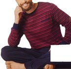 Herren Schlafanzug Pullover + Hose lang Pyjama gestreift M L XL XXL (L 52 54, Rot gestreift)