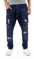 by-tex Herren Baggy Jeans Hose Slim Fit Jeans Hose Destroyed Look Chino Jeans Hose A449