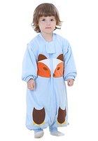 Happy Cherry Unisex Baby Schlafsack mit abnehmbare Ärmel Kind Baumwolle Overall Winter Pyjamas Mädchen Jungen Cartoon Fuchs Nachtwäsche Einteiler Schlafanzug für Kinderparty Asiatische Größe L - Blau