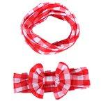 Babybekleidung Schals Longra Herbst Winter Baby Mädchen Mode karierten Schal Baby Bow Haarschmuck Stirnband Schal Set (Pink)