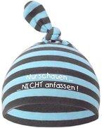 Baby Mütze bedruckt mit NUR SCHAUEN - NICHT ANFASSEN (Farbe hellblau-grau) (Gr. 0-74)