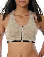 Damen Yoga Sport Push-Up BH Reißverschluss Ohne Bügel (weitere Farben) No 13879, Farbe:Beige;Größe:M / L