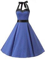 Dresstells Neckholder Rockabilly 50er Polka Dots Punkte 1950er Kleid Petticoat Faltenrock Royal Blue Small White Dot M