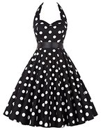 Damen 1950er Polka Dots Kleid Neckholder Festliche Kleid M CL4599-1