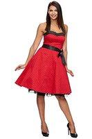 Zarlena Damen Rockabilly Kleid Polka Dots Punkte Tupfen Retro 50er Neckholder Navyblau mit pinken Dots L Rot / Schwarz mit kleinen Dots 613-L