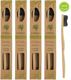 4er-Pack ♻ Ökologische Hand-Zahnbürste aus nachhaltigem Bambus-Holz mit weichen Natur-Borsten aus Holzkohle in der biologisch abbaubaren Verpackung ✮ Die beste vegane, weiche Bio-Zahnbürste im Set ✮ 100% BPA-freie Bambus-Zahnbürste ohne Plastik ✮ Hand-Zahnbürste mit Naturborsten aus Bambus-Holzkohle für umweltfreundliche Frauen, Männer und Kinder