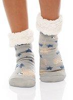 Hüttensocken Hausschuhe Socken Hüttenschuhe ABS/Teddy BF 00267 (One Size ( 35-42 ), Hellblau)