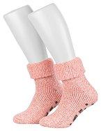 Piarini ABS Stoppersocken / Wollsocken / Wintersocken / Norwegersocken mit Innenfrottee für Damen, Herren, Jungen und Mädchen | 1 Paar rosa-meliert 39-42