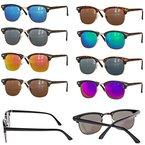 Retro Sonnenbrille Clubmaster clubma Vintage Sonnenbrille (leo - blau verspiegelt)