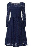 Gigileer 50s Damen Kleider Spitzenkleid Schulterfrei Langarm knielang festlich Cocktail Abendkleid Navy XL