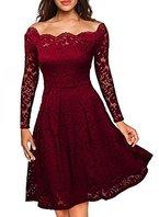 ASCHOEN Damen Abendkleid Vintage Off Schulter Cocktailkleid Retro Spitzen Langarm Kleid Weinrot L