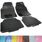 WOLTU AM7106 Universal Auto Fußmatten Matten Kunststoff ALU LOOK Riffelblech schwarz