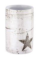 Wenko 22053100 Zahnputzbecher Star, Keramik, taupe, 7 x 7 x 11 cm
