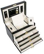Schmuckkästchen Schmuckschatulle Schmuckkasten Schmuckbox Schmuckkoffer Schmuck 4 Fächer Lederoptik weiß rot oder schwarz (schwarz)