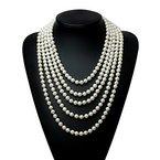 """Babeyond ART DECO Art und Weisefaux-Perlen-Prallplatten-Korn-Block-lange Perlen-Halskette 118 """""""