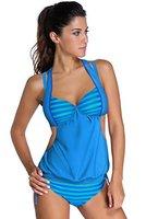 Neue Damen Blau Gestreift Layered Tankini Bademode Monokini Beachwear Badeanzug Größe XXL (UK 14-16EU 42-44