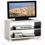 TV Rack Beistelltisch Lowboard Couchtisch Wohnzimmertisch MIAMI, 1 Regalboden, 4 Doppelrollen, in weiß/schwarz