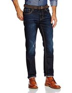 TOM TAILOR Herren Jeanshose Jeans Uni 1/1 Marvin Straight, Blau (Dark Stone Wash Denim 1053), W34/L32 (Herstellergröße: 34)