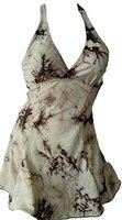 Damen Neckholder Push Up Badekleid / 2 Teiler / Röckchen Effekt / Figurformend /Slip / Bademode KL100-f5149 Farbe: Kleid 6 - Beige/ Braun, Gr. 38