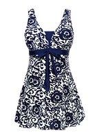 Damen UV schutz einteiler Badeanzug swimwear Badekleid strandkleid Tankini Wassersport Dunkelblau 4XL
