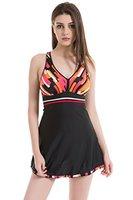 Trendiger V-Ausschnitt Badeanzug Damen Schwimmanzug Einteiliges Rueckenfreies Badekleid, Gr. DE 42 / Etikettengroeߥ 3XL