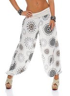 ZARMEXX Damen Pumphose Pluderhose Harem-Stil Sommerhose all over Print Freizeithose Aladinhose Hose One Size (Einheitsgröße: Gr. 36-42, beige)