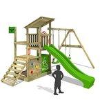 FATMOOSE Klettergerüst FruityForest Fun XXL Spielturm Kletterturm Beach-House auf 3 Ebenen schrägem Holzdach, Schaukel mit 2 Sitzen, Rutsche und viel Zubehör
