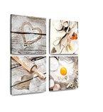 4er Kunstdruck Liebe zum Backen XXL Wall Art Leinwandbild Druck 4 x 30 cm x 30 cm