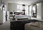 Schlafzimmer komplett 4-teilig 54023 weiß / nussbaum schwarz