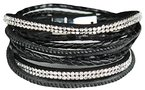 Mevina Damen Strass Armband Wickelarmband Leder viele Farben Magnetverschluss Reptil Look Schwarz A1157
