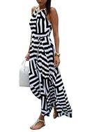 CRAVOG Damen gestreift Sommerkleid elegante Kleider Party Strandkleider