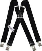 Hosenträger für Herren breit extra starken 4 cm mit 4er Clips X-Form lange für Männer und Damen Hose alle Farben (Schwarz)