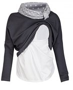 Happy Mama. Damen Sweatshirt Stillzeit Zweilagiges Stillen Top Rollkragen. 795p (Graphit, EU 36)