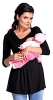 Zeta Ville - Damen Zweilagiges Still Top für Schwangerschaft 3/4-Ärmeln - 945c (Schwarz, EU 40/42, XL)