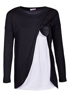 Happy Mama. Damen Umstandsmoden Top Stillshirt Lagendesign Wickeln-schicht. 962p (Schwarz, EU 44/46, 2XL)