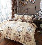 Bettwäsche-Set, Titan-Uhren der Welt, modern, 3Farben, 50 % Baumwolle / 50 % Polyester, natur, Doppelbett