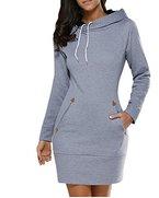 BIUBIU Damen Mode Hoodie mit Zip Langarm Pullover Jumper Pulli Sweatshirt Jumper 1#Gray DE 36