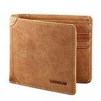 Herren Leder Geldbörse, Lensun Echte Rindsleder Portemonnaie für Männer, als Geschenk verpackt, Braun (QB-LZH-BN)