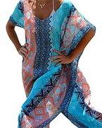 Jastore®boho Damen Strandponcho Sommer Kleid Überwurf Kaftan Strandkleid Bikini Tunika Cover Up (Blau)