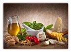 XXL Poster 100 x 70cm (F-228) Nudeln mit Pesto, Knoblauch Tomaten Nüsse Käse Öl Basilikum Küche (Lieferung gerollt!)