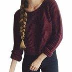 QIYUN.Z Frauen Weinrot Winter/Herbst Pullover Pullover Rundhals Kurzen Strick Hot